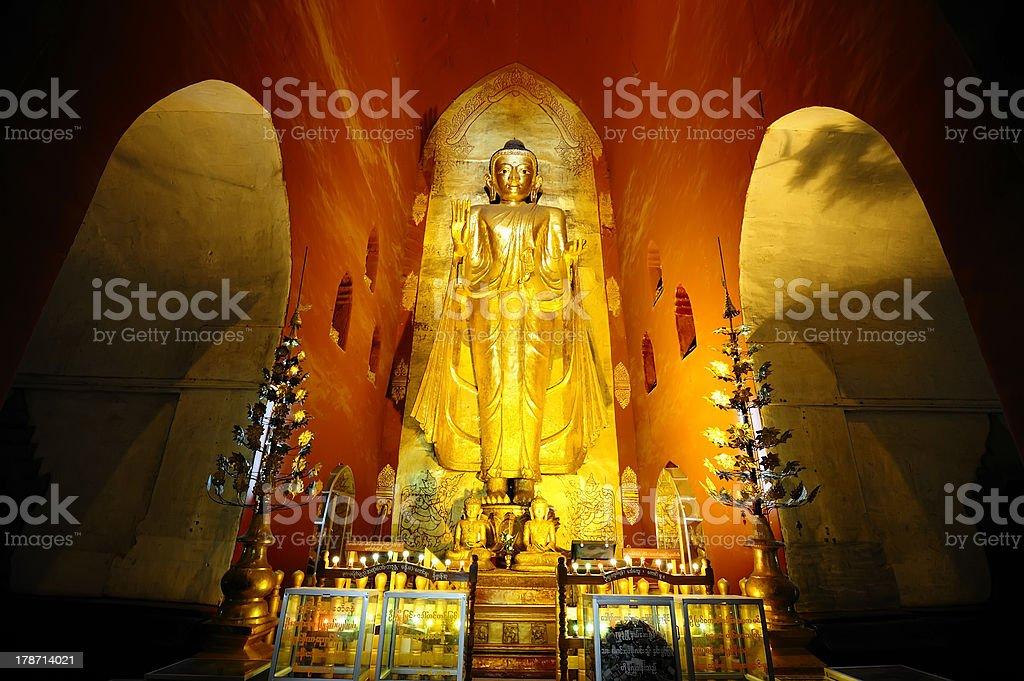 Buddha Images & Frescoes inside Ananda Pagoda in Bagan, Myanmar royalty-free stock photo