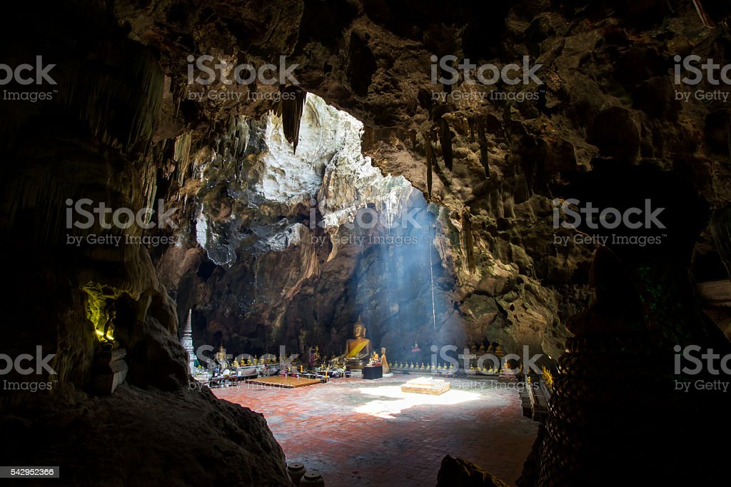 Buddha images in Khao Luang Cave,Phetchaburi province,Thailand. stock photo