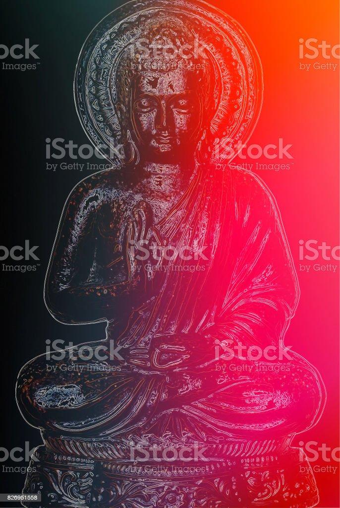 Buddha in Modern Digitally Manipulation Style stock photo