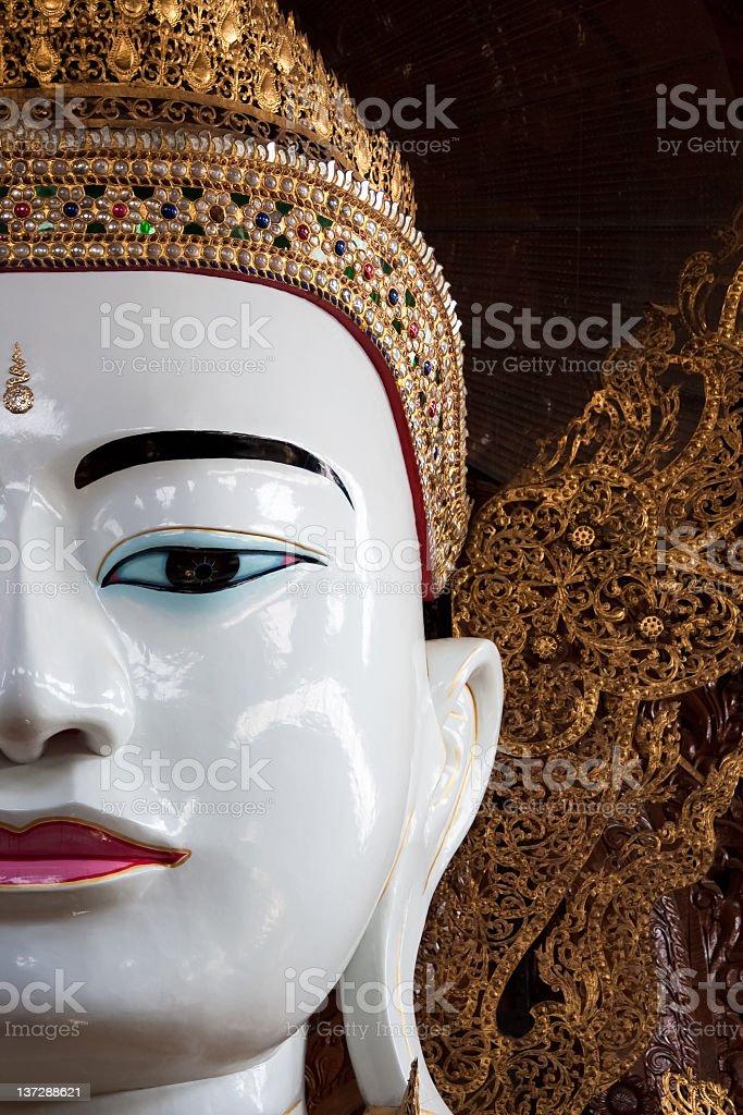 Buddha in Ngahtatgyi Paya (The Five Storey Buddha), Yangoon, Burma stock photo