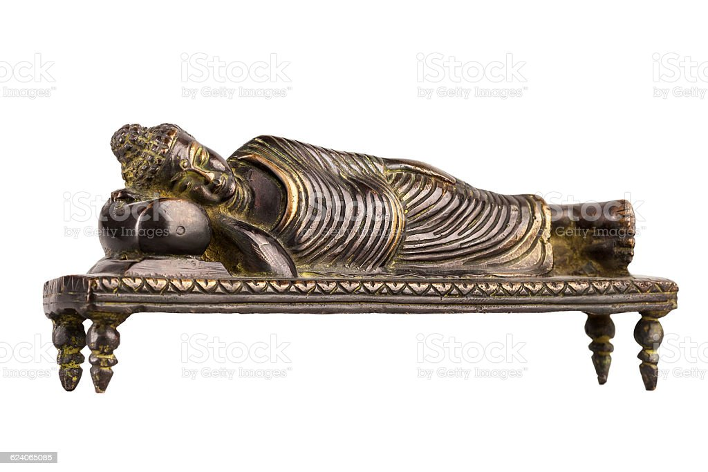 Buddha in parinirvana position. stock photo