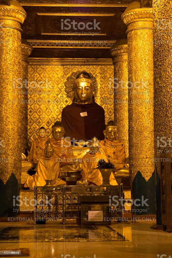 Buddha in Shwe Dagon Monastery royalty-free stock photo