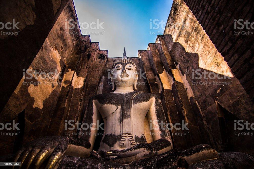 Buddha in sukothai Thailand stock photo