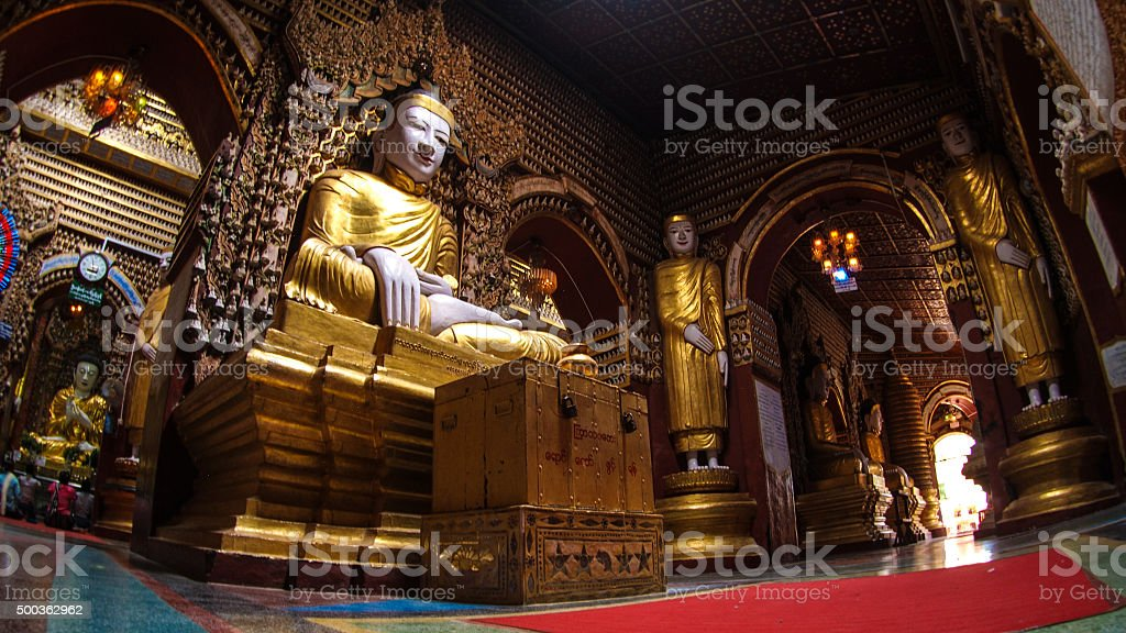 Buddha in Thanboddhay Pagoda stock photo