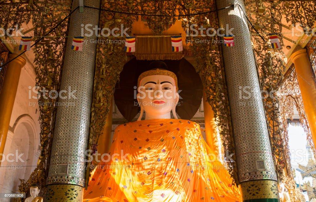 Buddha in the Shwedagon Pagoda,Yangon, Myanmar stock photo