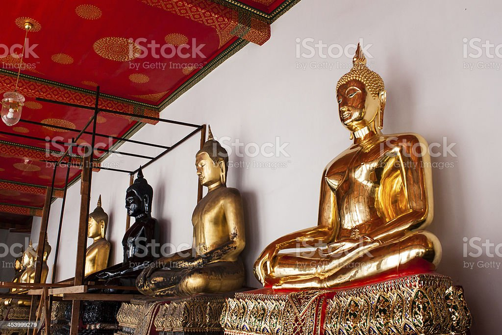 Buddha in Wat Pho Temple sequential nicely stock photo