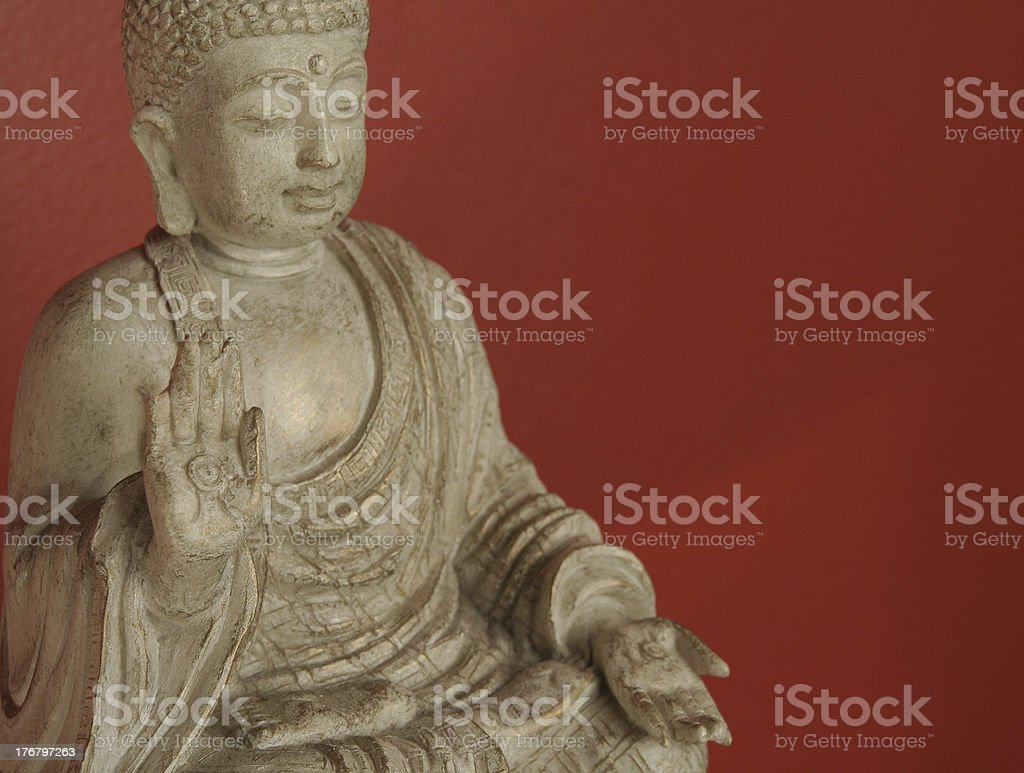 Buddha meditates with ad space royalty-free stock photo