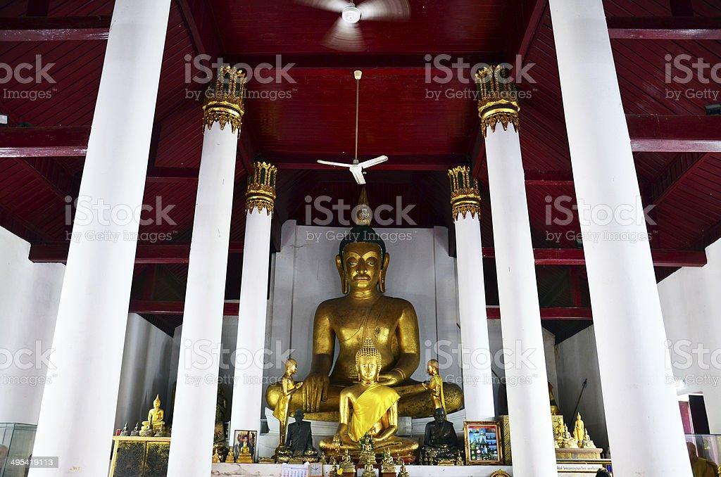 Buddha of Wat Phra Mahathat Woramahawihan at  Nakhon Si Thammarat stock photo