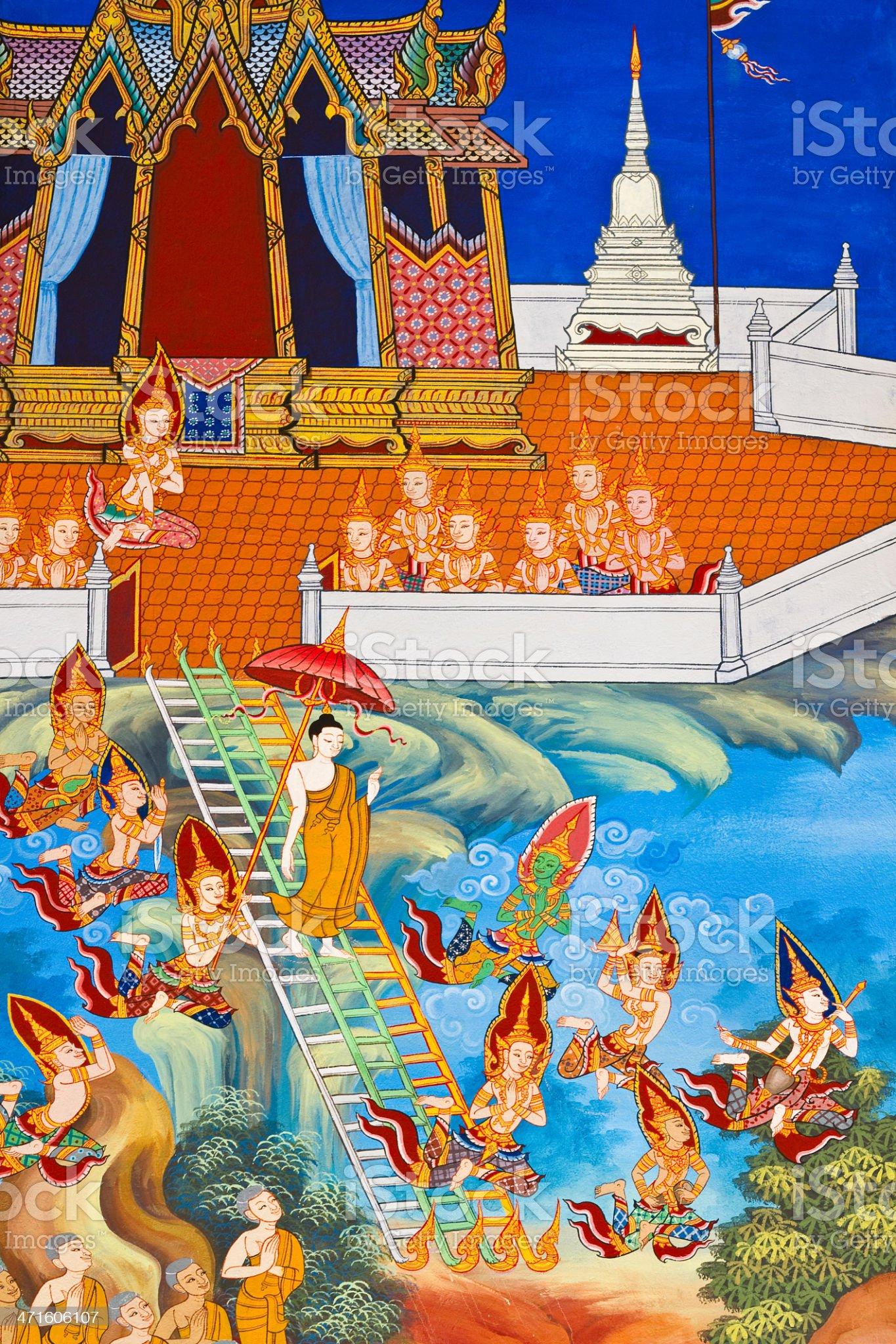 Buddha painted image,Wat Yai Province Prachinburi in Thailand. royalty-free stock photo