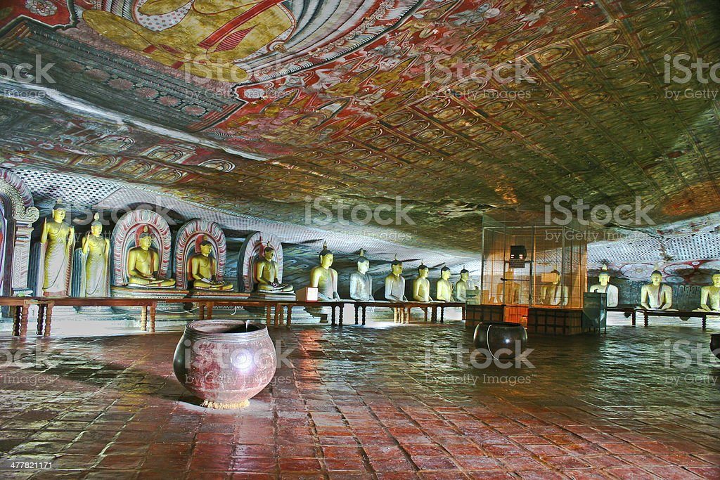Buddha painting in the famous rock tempel of Dambullah royalty-free stock photo