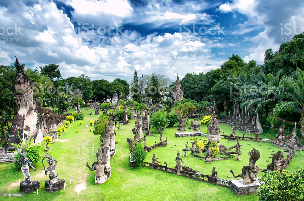 Buddha park in Vientiane, Laos. stock photo
