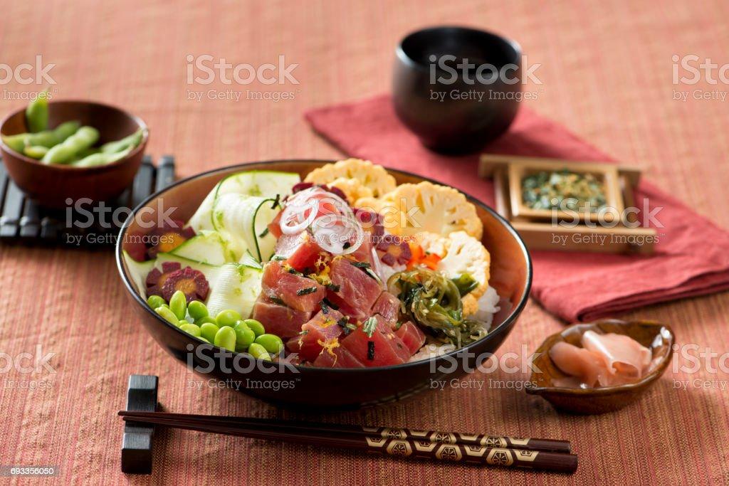 Buddha Poke Bowl with tuna and fresh vegetables stock photo