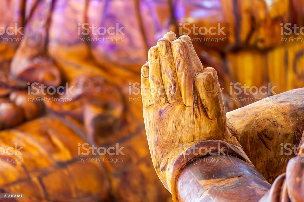Buddha put the palms of the hands together in salute stock photo