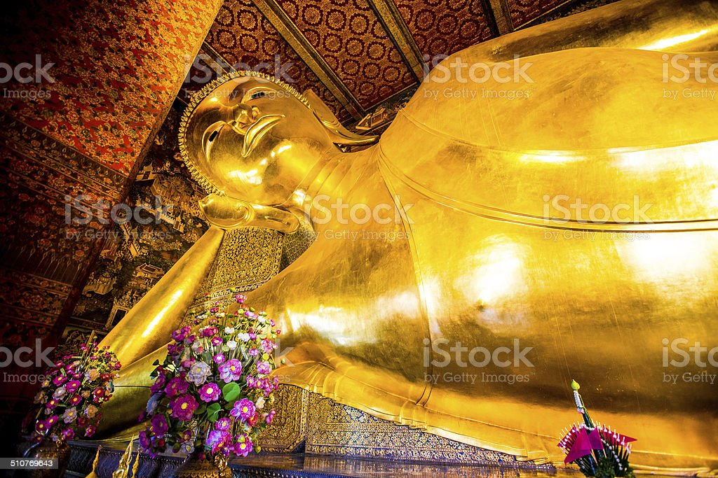 Buddha Reclining at wat pho inthailand stock photo