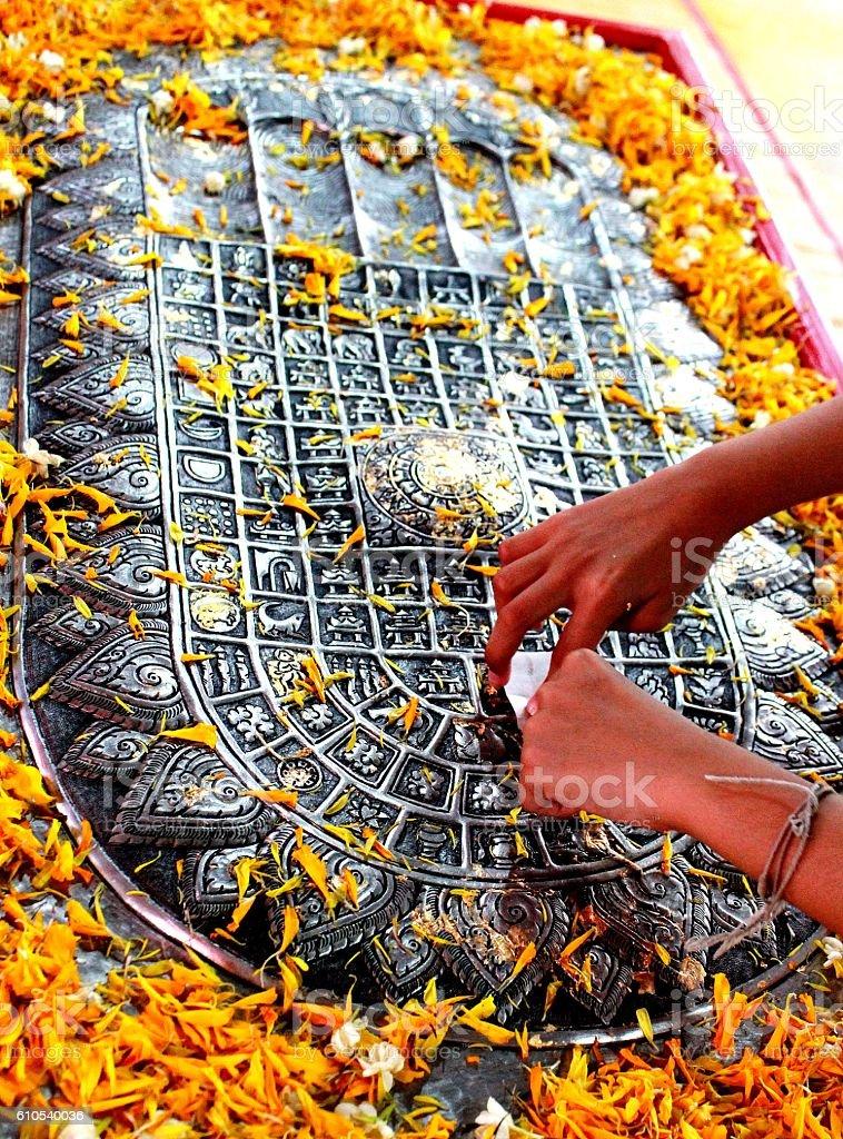 Buddha s footprint in Thailand stock photo