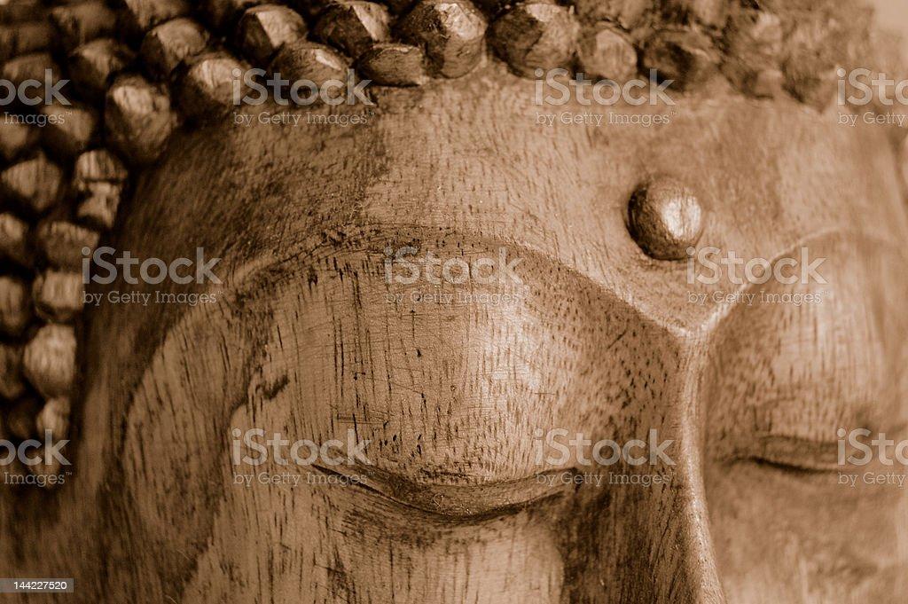 Buddha sculpture close-up. stock photo