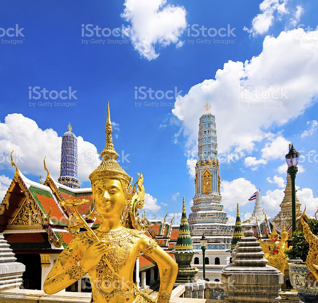 Buddha sculpture in Grand Palace Thailand stock photo
