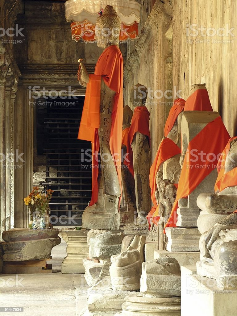 Buddha sculptures in Angkor Wat royalty-free stock photo