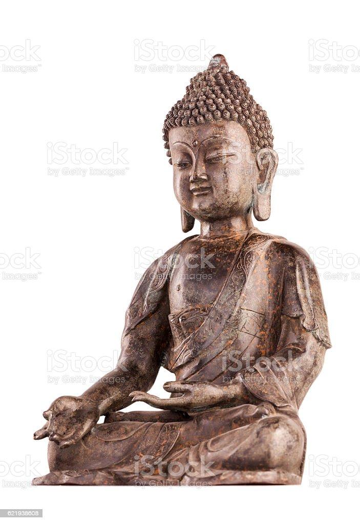 Buddha Shakyamuni's figure in a blessing pose. stock photo