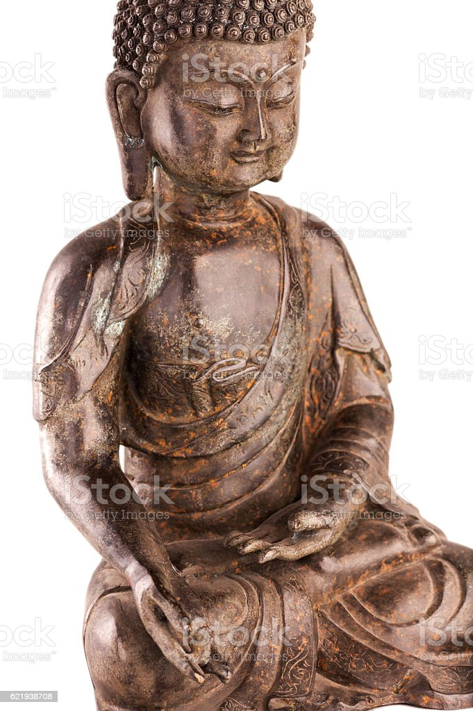 Buddha Shakyamuni's figure in a blessing pose - topside view. stock photo