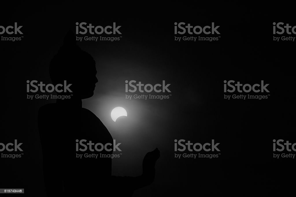 Buddha silhouette, Nature Solar eclipse. with infrared filter stock photo