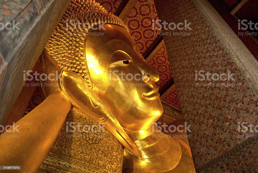 Buddha sleeping close up stock photo