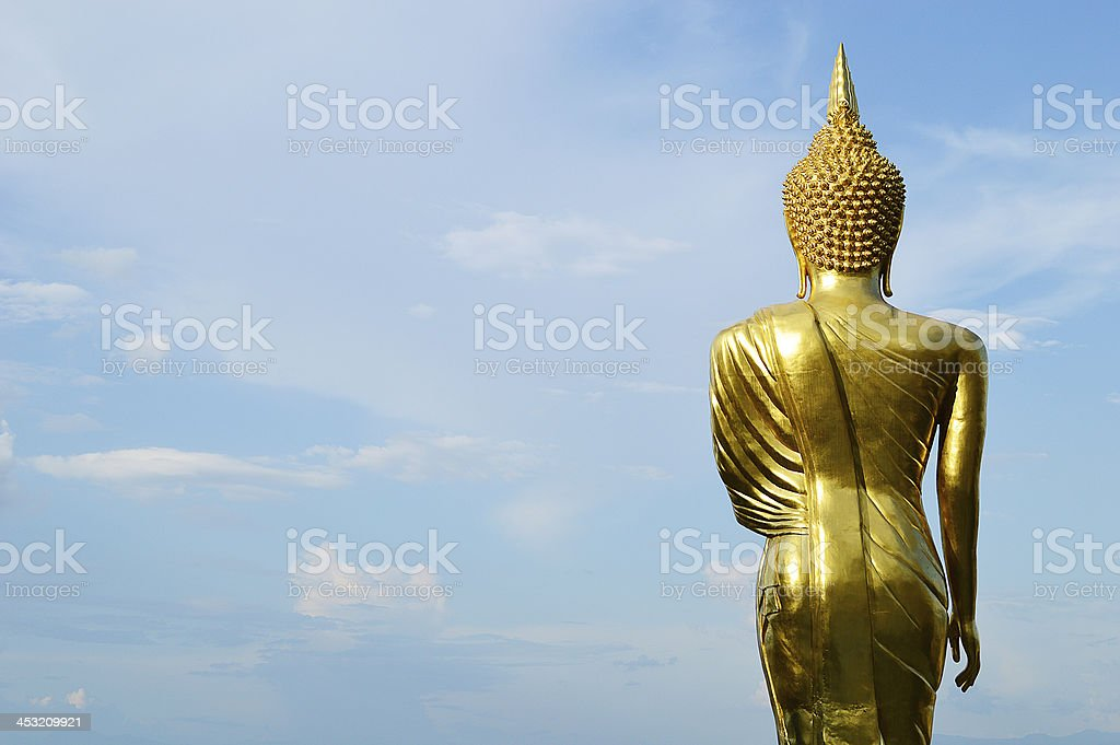 Buddha standing on a mountain Wat Phra That Khao Noi royalty-free stock photo