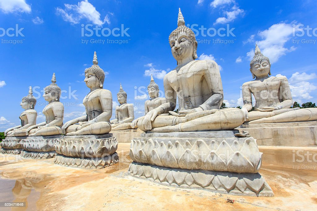 Buddha statue and blue sky stock photo