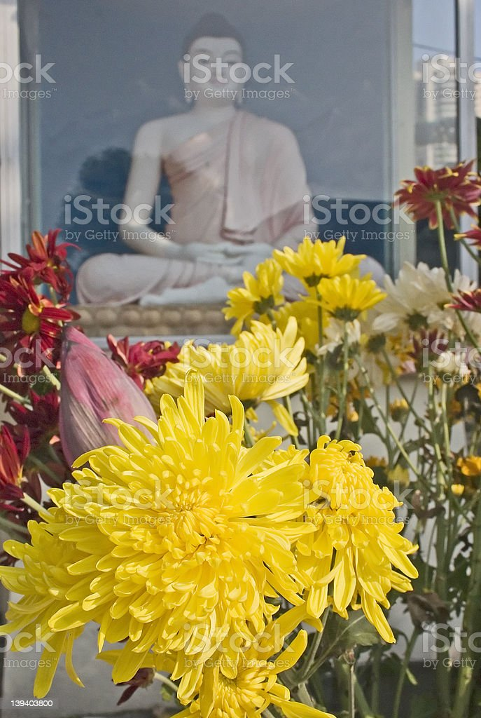 Buddha Statue and Flower royalty-free stock photo