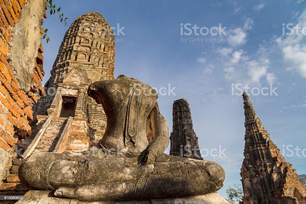 buddha statue and pagoda at Wat Chaiwatthanaram, Ayutthaya, Thailand. stock photo
