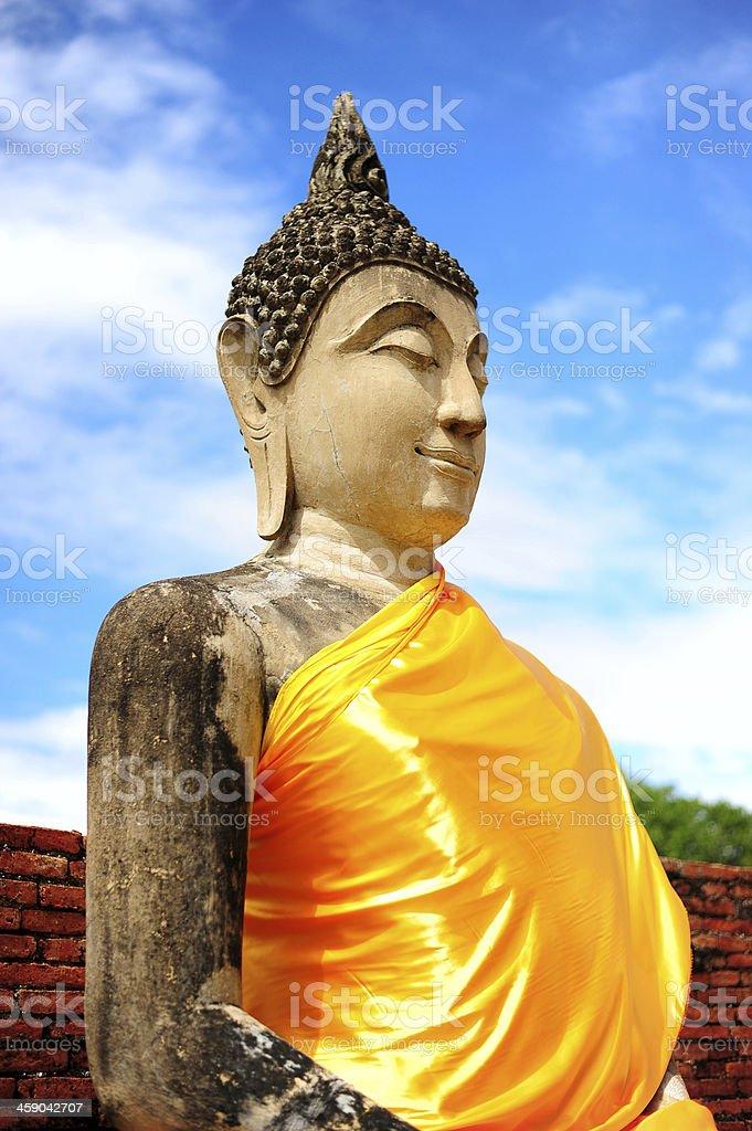 Buddha Statue at Ayutthaya Historical Park of Thailand stock photo