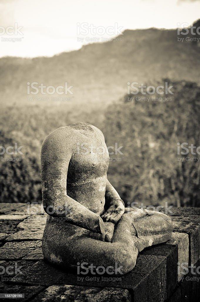 Buddha statue at Borobudur temple, Java, Indonesia royalty-free stock photo