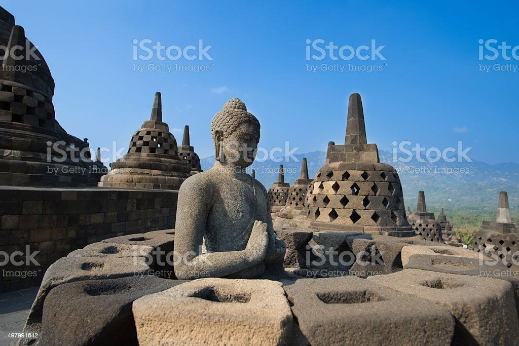 Buddha Statue at Candi Borobudur stock photo