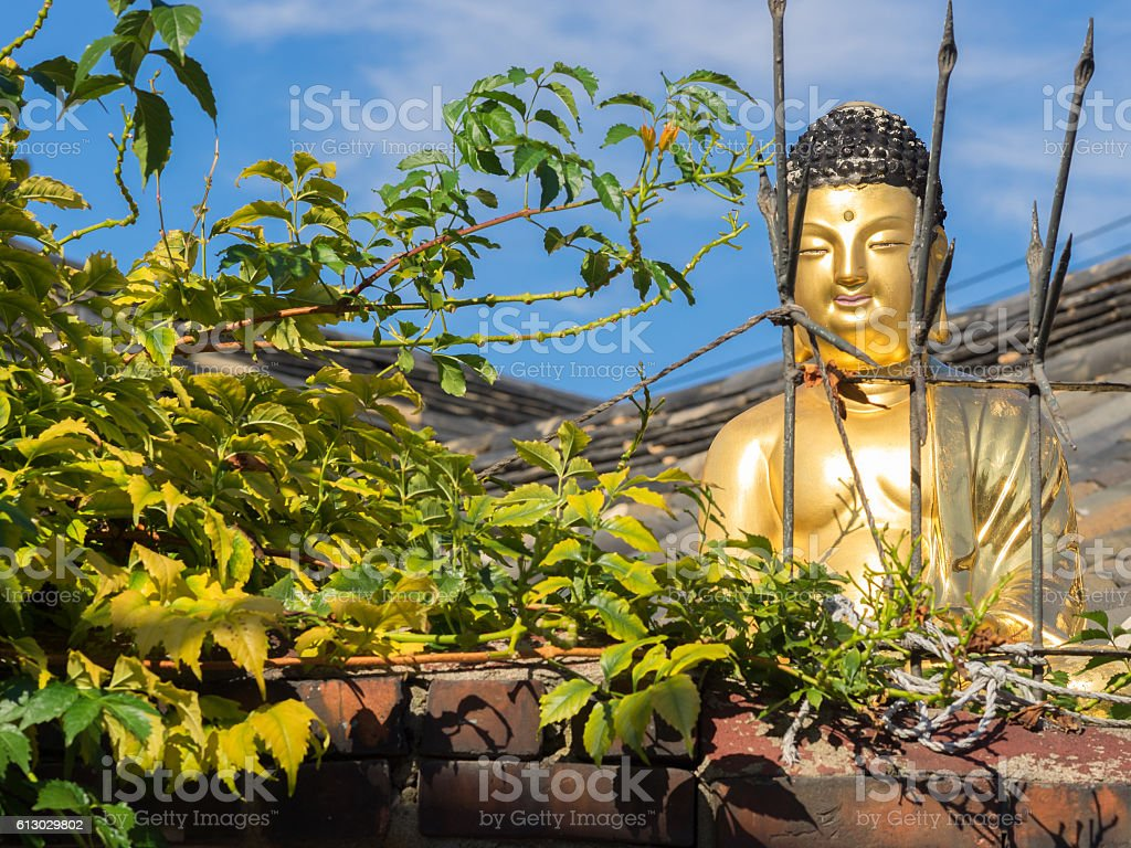 Buddha statue at Bukchon Hanok Village, Seoul, South Korea royalty-free stock photo