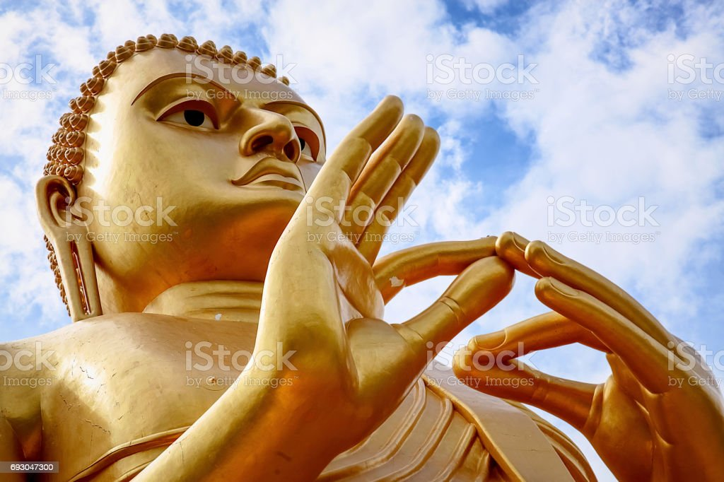 Buddha statue at Dambulla cave temple . Sri Lanka. stock photo