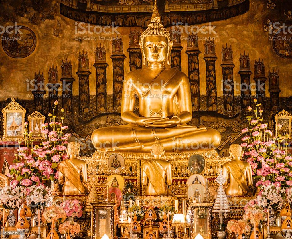 Buddha statue at Temple of the Bells Bangkok Thailand stock photo