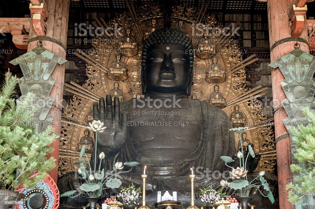 Buddha statue at Todaiji Temple in Japan stock photo