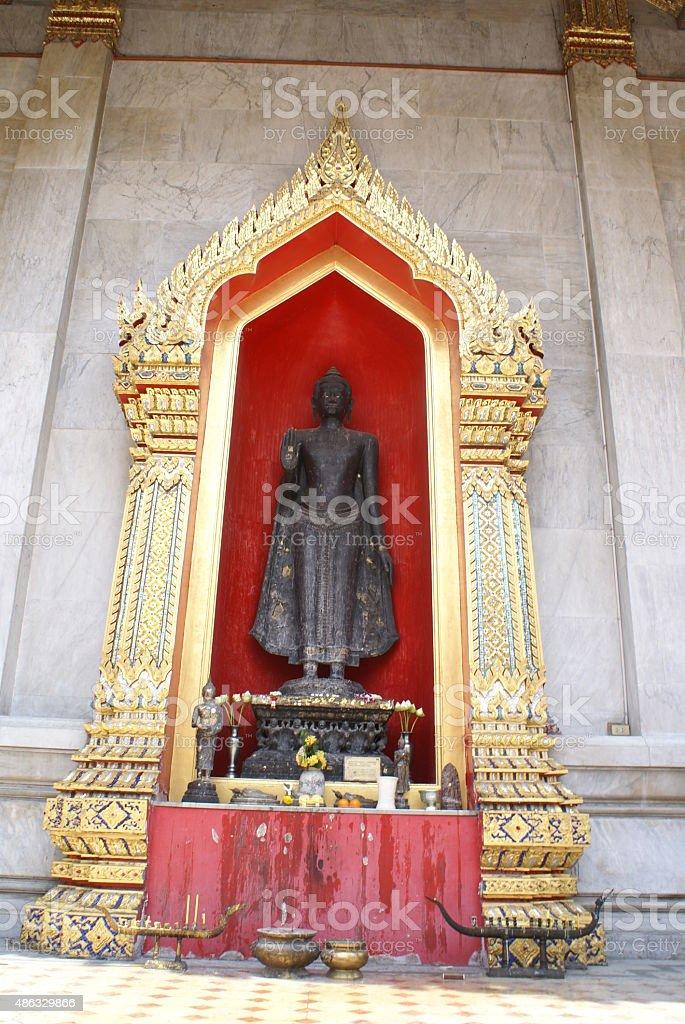Buddha statue at Wat Benchamabophit in Bangkok, Asia stock photo