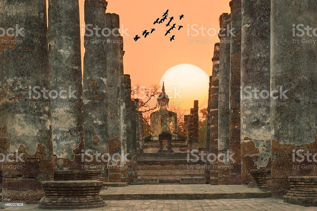 Buddha Statue at Wat Mahathat in Sukhothai Historical Park,Thail stock photo