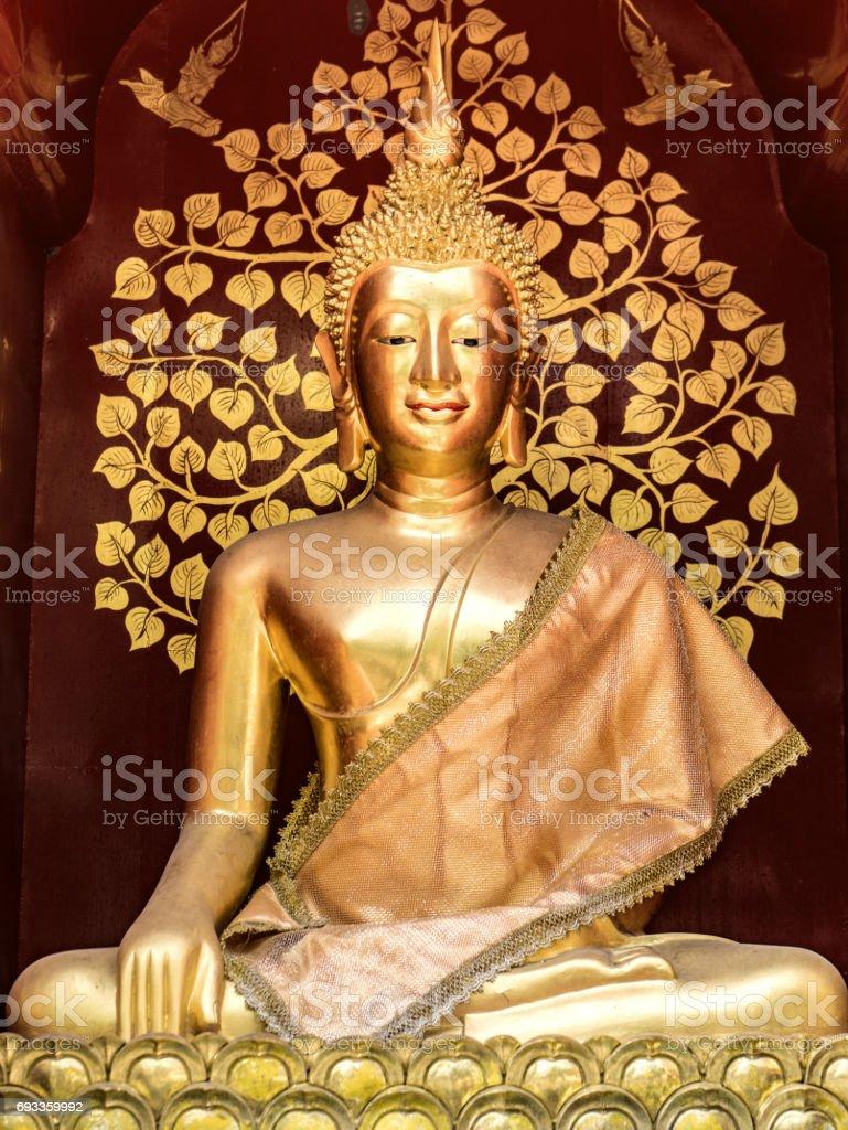 Buddha statue at Wat Muel Lan Chiang Mai Thailand stock photo