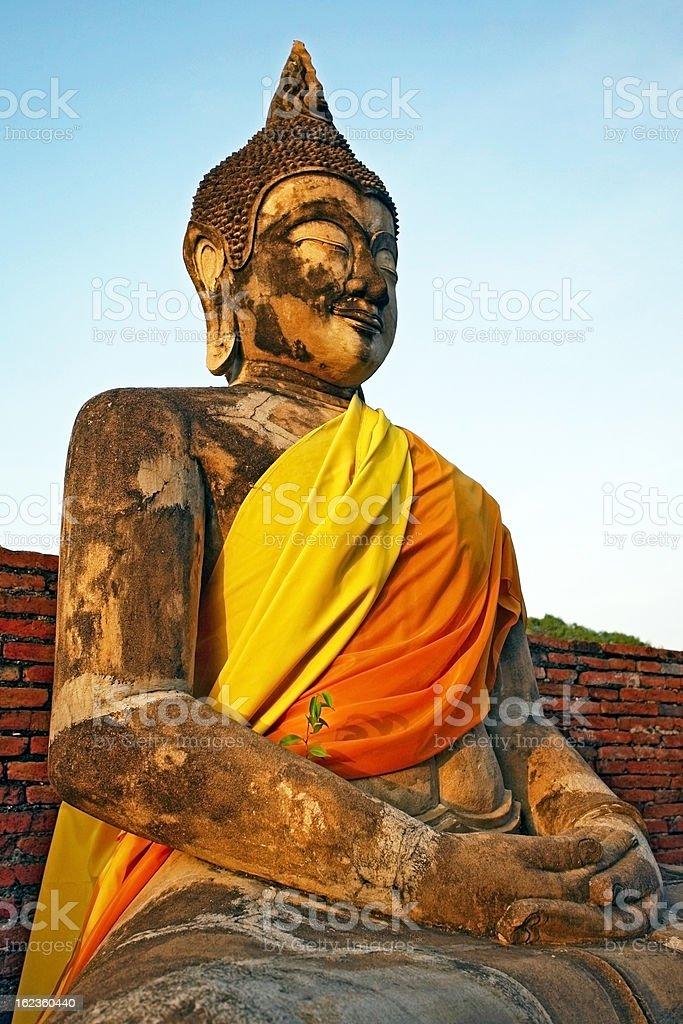 Buddha statue at Wat Yai Chai Mongkol in Ayutthaya, Thailand royalty-free stock photo