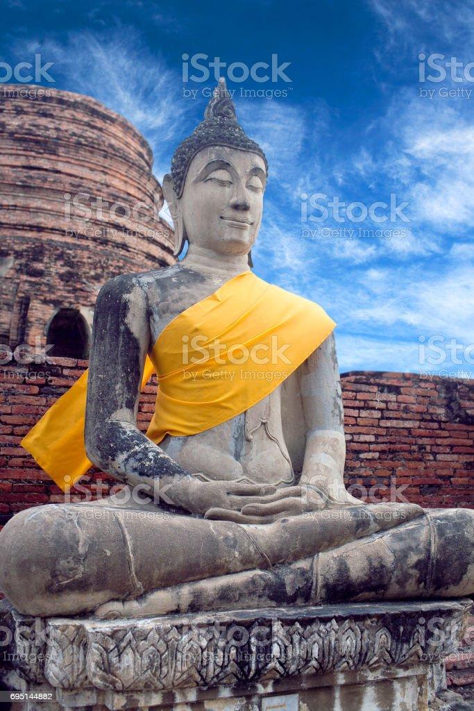 Buddha Statue at Wat Yai Chaimongkol in Ayutthaya, Thailand stock photo