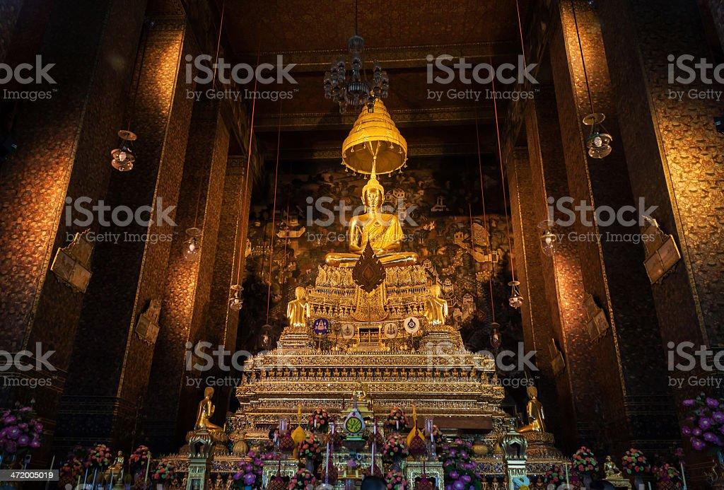 buddha statue beautiful in the church at Bangkok, Thailand stock photo