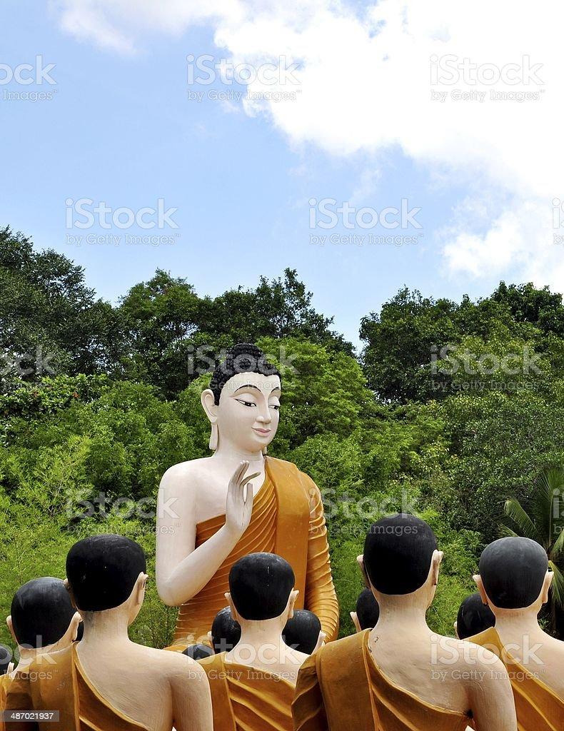 Buddha statue blessing at Wat Chak Yai, Chanthaburi, Thailand royalty-free stock photo