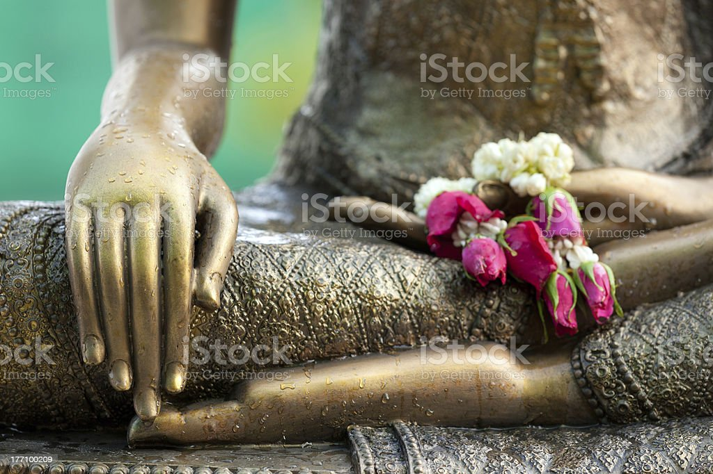 buddha statue detail stock photo