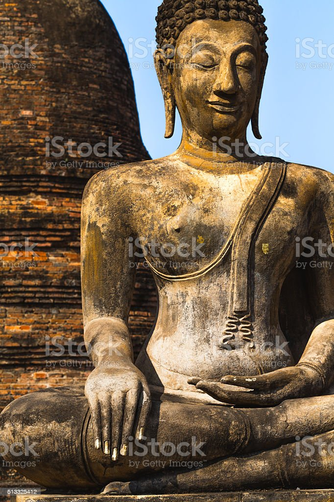 Buddha statue detail, Sukhothai temple, Thailand stock photo