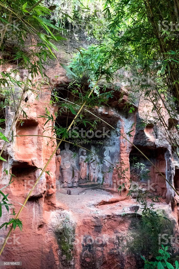 Buddha Statue grotto in Leshan, China stock photo