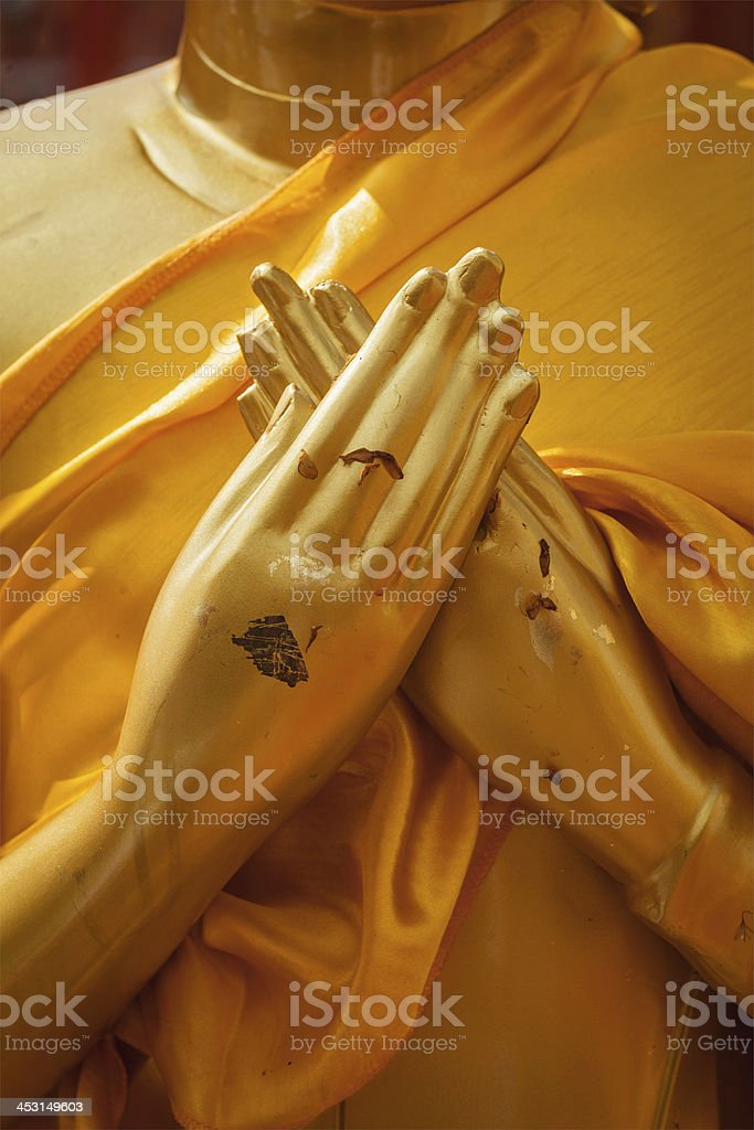 Buddha statue hands in  Vajrapradama Mudra stock photo
