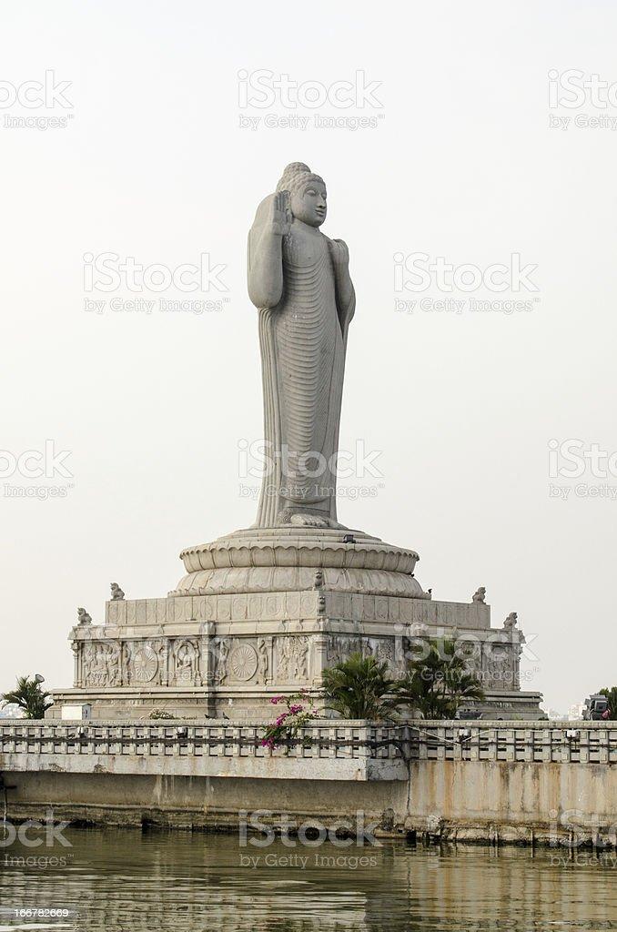 Buddha Statue, Hussain Sagar, India stock photo