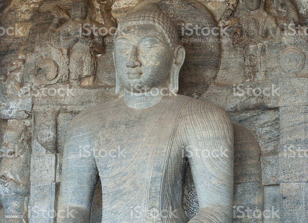Buddha statue in a cave Gal Vihara, Polonnaruwa Sri Lanka royalty-free stock photo